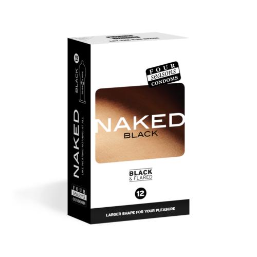 Four Seasons Naked Black Condoms 12 Pack
