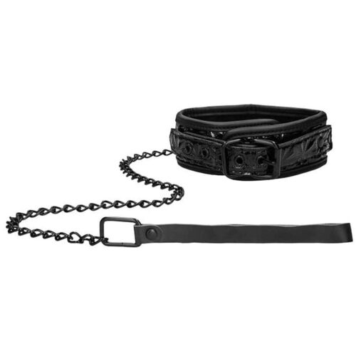 Shots OUCH! Luxury Collar With Leash - Black