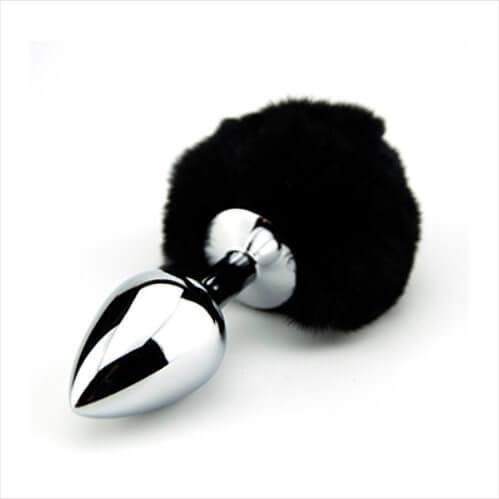 Loving Joy Furry Fantasy Bunny Tail Butt Plug - Black