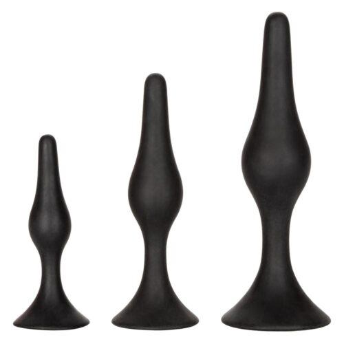 Calexotics Silicone Anal Starter Butt Plug Kit - Black