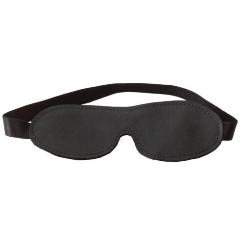 Spartacus Contour Leather Blindfold - Black Fur